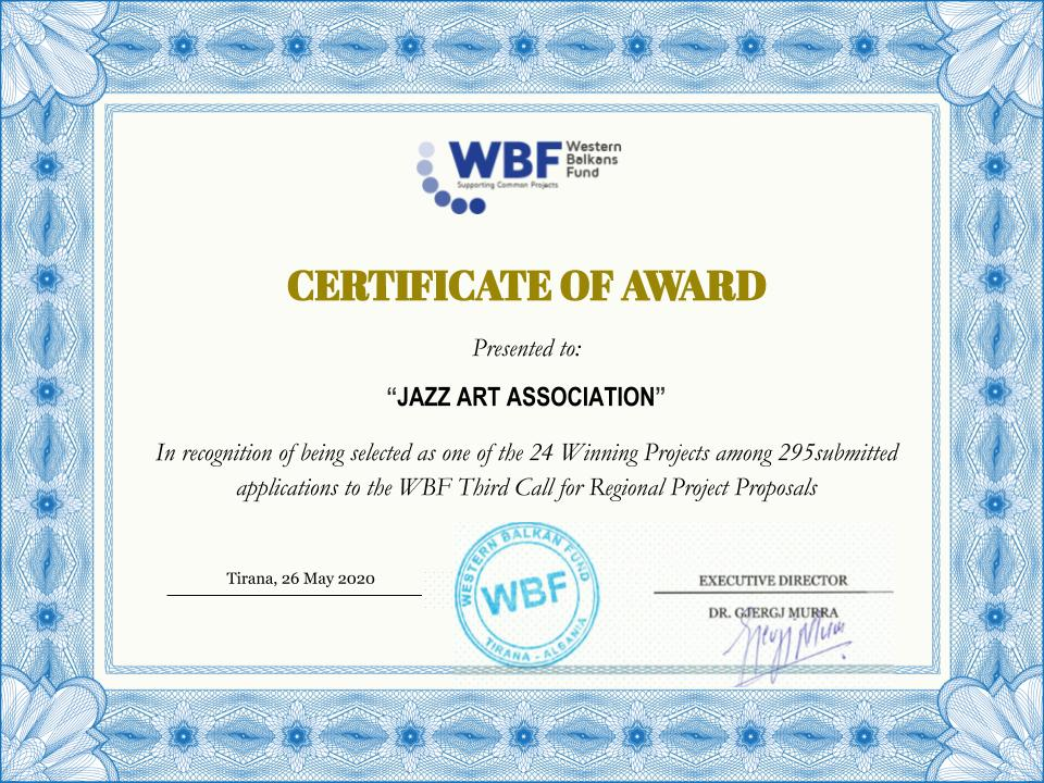 WBF Certificate to JAZZ Art Association